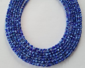 Shades of blue seed bead necklace - blue seed bead necklace - seed bead necklace - blue - shades of blue - necklace