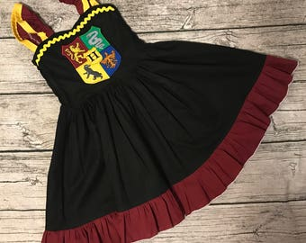 Disney Universal inspired Harry Potter Crest sweetheart ruffle strap dress sizes 2-14