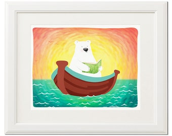 White bear with book -Nursery print-Children wall poster-Kids room decor-Baby art print-Instant download illustration