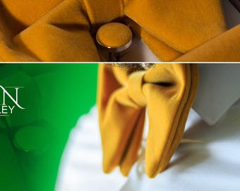 Gold Big Bow Tie with Pocket Square