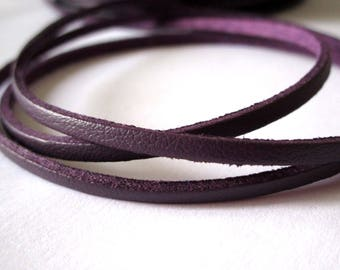 5 m suede effect - plum - 3 mm leather cord