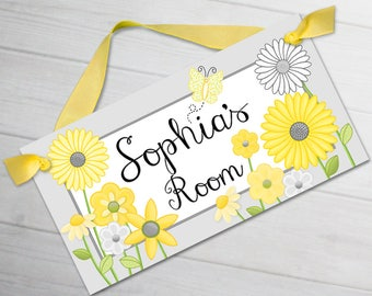 Yellow Blossom Daisy Garden Flowers and Butterflies Girls Bedroom Baby Nursery Personalized Door Sign Name Plaque Wall Art DS0075