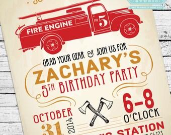 Vintage Firefighter Invitation, Fireman Invitation, Fireman Invite