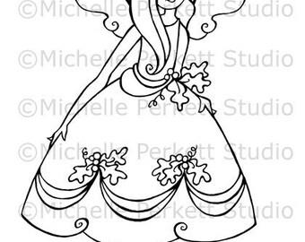 Digital Stamp Image Fairy Flowers Autumn Wings Cardmaking Scrapbooking