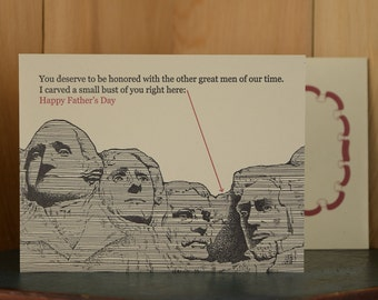 Rushmore - letterpress Father's Day card