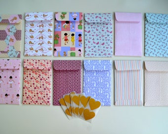 12 small envelopes, Belle and Boo designs