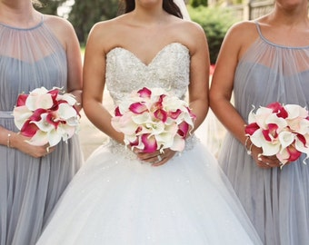 PINK WEDDING BOUQUET - Pink Calla Lily Wedding Bouquet - Fuchsia , Blush Pink and Ivory Bridal Bouquet , Real Touch Calla Lilies