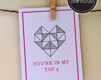 Witty cards etsy youre in my top 5 printable love card funny anniversary card bookmarktalkfo Image collections