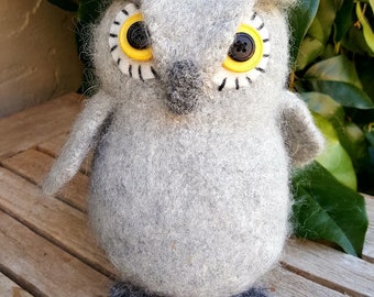 Gray Fuzzy Owl--Hand knit and Felted