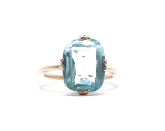 Vintage Blue Topaz Ring | Rosy Gold | Converted From Pin | Aquamarine Simulant or Look A Like