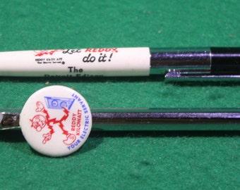 Pair of Vintage Industrial Utility Advertising - Reddy Kilowatt Pen Topper / Cross Pen - Scripto - Detroit Edison Company Pen