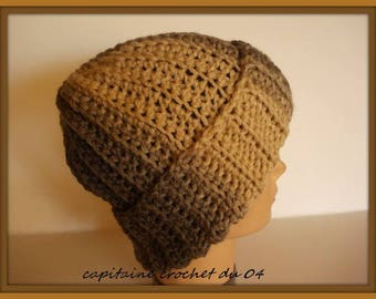 Man/woman/wool hat Beanie Cap / Hat beige and brown/hat in wool/hat is ribbed hand crochet/unique