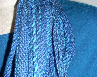 Hand Woven Mobius Cowl,  Handwoven Cowl, Infinity Scarf, Handmade Scarf, Unique Gift, Blue, Statement Accessory