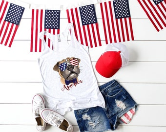 Patriotic Pooch- American Boxer Dog Red, White, & Blue vintage style Flowy Racerback womens' Tank Top