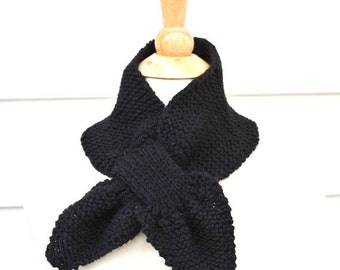 Unique scarf, Knit scarf, keyhole scarf, black scarf, warm winter neckwarmer, knit ascot, women's scarf, women's winter accessory