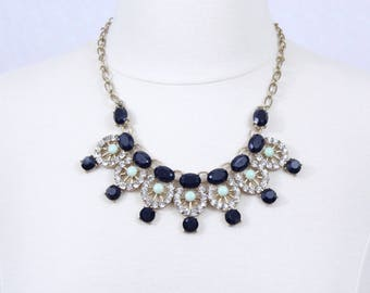 Navy Blue Necklace with Rhinestones Deep Blue Statement Necklace Crystal Necklace