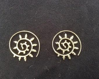 Bronze spiral Sun earrings