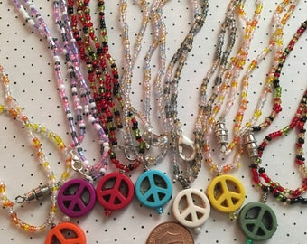 Colorful Peace Sign 20 Inch Necklace