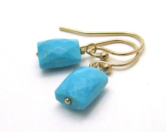 Genuine turquoise earrings, December birthstone jewelry, sterling silver or gold fill Arizona turquoise jewelry, rectangle gemstone earrings