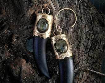 Ebony brass labradorite fang earrings, handmade