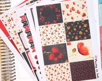 Katerina Erin Condren planner stickers weekly sticker kit red poppies glossy or matte stickers