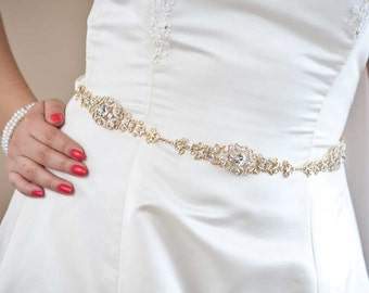 Crystal Belt - Wedding Sash - Wedding Belt - Prom Belt - Prom Sash - Gold Sash - Gold Belt - Crystal Bridal Belt - SOPHIA