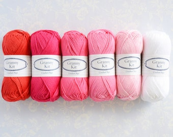 Cotton Yarns 6 balls, Red, Framboise, Berry, Rose, Baby Pink and Lace, ready to ship by CrochetObjet