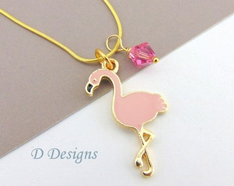 Pink Flamingo Necklace, Tarnish Resistant Gold Plated Flamingo Birthstone Necklace