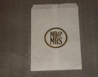 Mr & Mrs Glassine Wedding, Bridal Shower or  Anniversary Cake Slice Bag, Favor Bags Sacs Cookie Sleeve