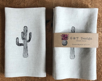 Black Cactus Screen Printed onto 100% linen Dinner Napkins ,Set of 4, Hostess Gift