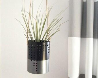 Metallic Silver, Black and Natural Jute Twine Hanging Planter |  Color Block Air Plant Holder, Pod, Flower Vase | Modern Home Decor