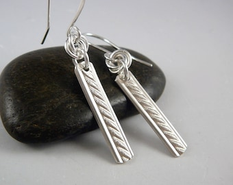 Sterling Silver Drop Earrings, Silver Anniversary Gift, Cool Earrings, 925 Jewelry, Nickel Free Earrings, Silver Bar Earrings, 925 Silver