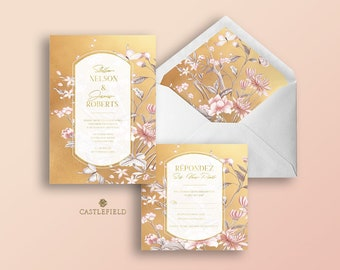 Castlefield Yellow Gold Pink Floral Chinoiserie Wedding Invitations RSVP Card Menu Envelope Liner Stationery Customized  Printable Luxury