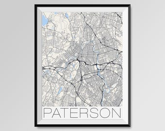 PATERSON New Jersey Map, Paterson City Map Print, Paterson Map Poster, Paterson Wall Map Art, Paterson gift, Custom city maps, Personalized