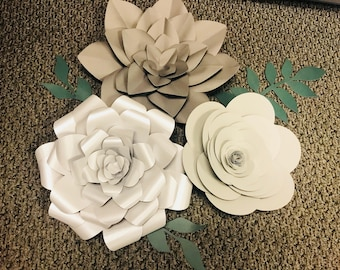 Set of 3 Large silver/ grey Paper Flowers