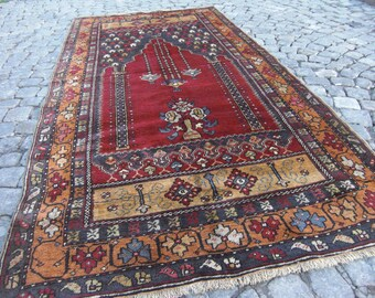 turkish - rug oushak, rug handwoven, turkish wool rug, oushak rug, floor vintage Rug