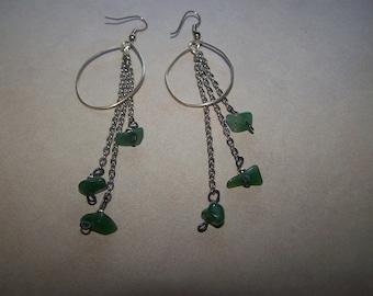 Silver Shoulder Duster Sea Glass Dangle Pierced Earrings