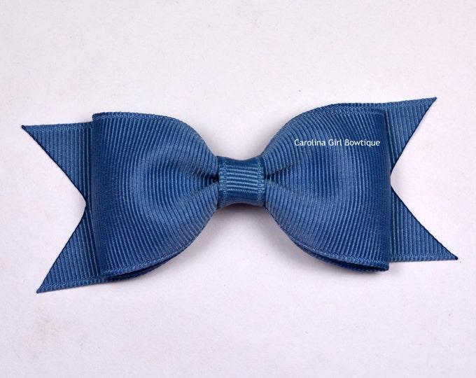 "Williamsburg Blue Tuxedo Bow ~ 3.5"" Hairbow ~ Small Hair Bow ~ Girls Barrette ~ Toddler Bow ~ Baby Hair Bow ~ Hair Clip ~ Girls Hair Bow"