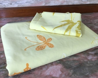 Vintage 1970s Sheet BUTTERFLIES AND BAMBOO Twin Flat and Pillowcase Butter Yellow Springmaid Wondercale