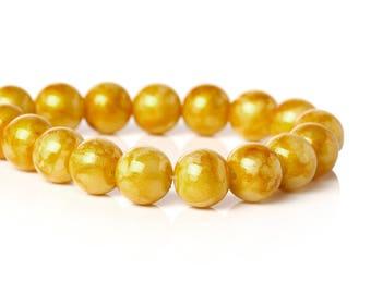 Gold Yellow Glass Beads Glitter Bead 10mm Large Spacer Bead Yellow Gold with Swirl Glitter Shiny 3801