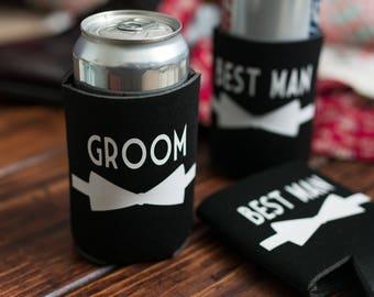 Groom Can Sleeve - Groomsman Can Cooler - Bridal Party Gift - Wedding Can Sleeve - Custom Wedding Favor - Bachelor Party Favor - Best Man