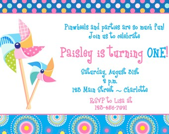 Pinwheels Birthday party invitation - first birthday invitation -- Pinwheel party invitation - pinwheels