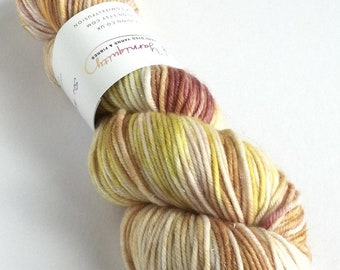 Hand dyed yarn, silver sparkle DK yarn, superwash merino/nylon/stellina double knit yarn, indie dyed Chanterelle, natural, sparkle wool yarn