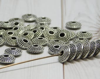 8x2mm - Metal Beads - Silver Spacers - Silver Beads - Antique Silver - Silver Spacer Beads - Metal Spacer Beads - 50pcs - (B477)