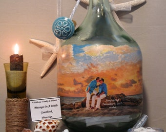 Personalized Guestbook Alternative, Messages In A Bottle Guestbook With Your Photos and Hand Painted Embellishments, Beach Theme Wedding