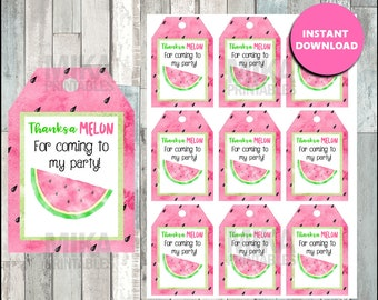 Watermelon Thank you Tags instant download , Watermelon Thank you Tags, Printable Watermelon party tags