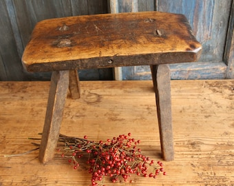 H 7 antique handcarved austrian STOOL bois table footstool