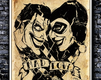 Vintage Mad Love - A4 Signed Art Print (Inspired by The Joker and Harley Quinn)