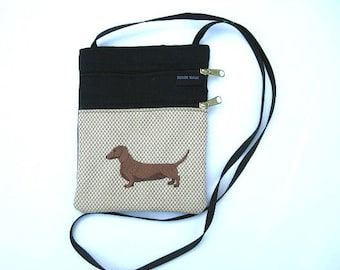 Red, Brown Dachshund Dog Cross Body Flat Purse , on Tan (body)