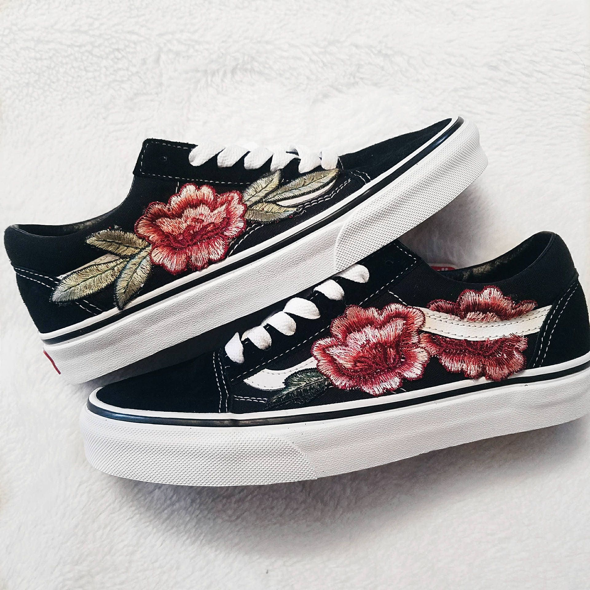 low top unisex custom rose floral embroidered patch vans. Black Bedroom Furniture Sets. Home Design Ideas